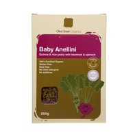 Olive Green Organics Baby Anellini Quinoa & Rice Pasta With Beetroot & Spinach 250g