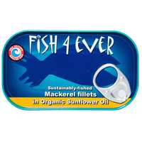 Fish 4 Ever Sustainably Fished Mackerel Fillets in Organic Sunflower Oil 120g