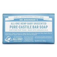 Dr Bronners Unscented Baby Mild Soap Bar 140g