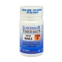 Schuessler Tissue Salts - Comb K: Weak Nails, 125 tabs