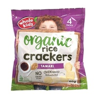 Whole Kids Certified Organic Rice Crackers Tamari (4 Pack) 60g